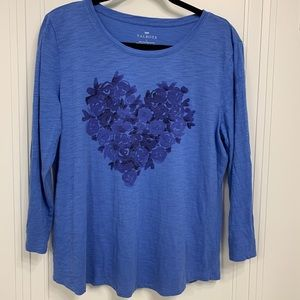 Talbots Beautiful Blue Floral Heart 3/4 Sleeve Top